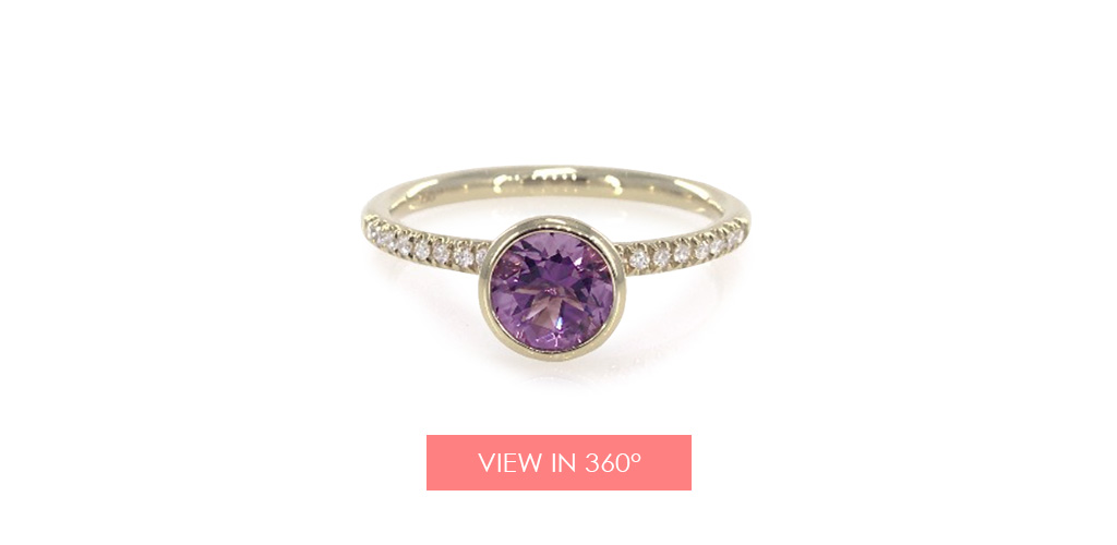 bezel set amethyst pave diamond ring holiday gift guide