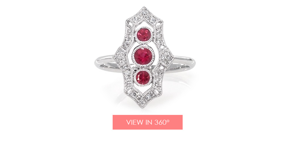 bezel set ruby trio diamond ring holiday gift guide