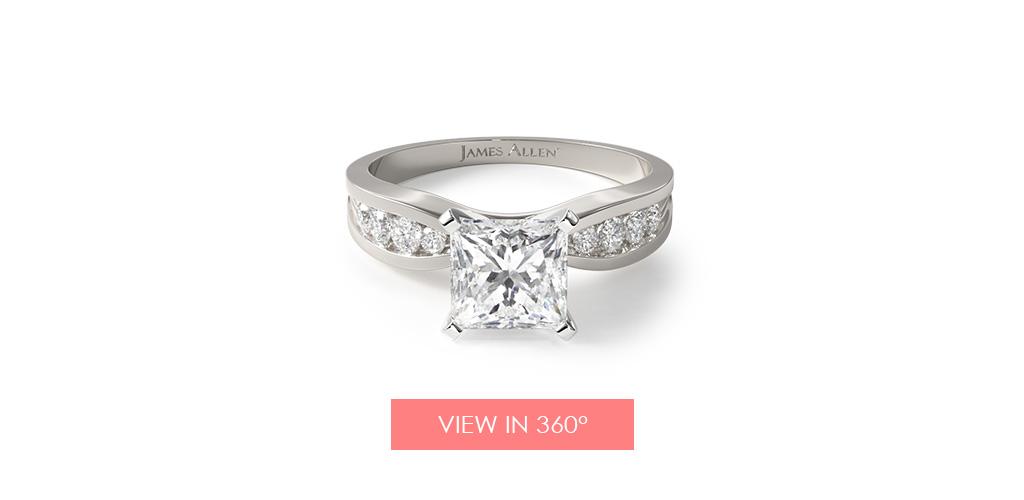 bow tie channel set princess cut engagement ring