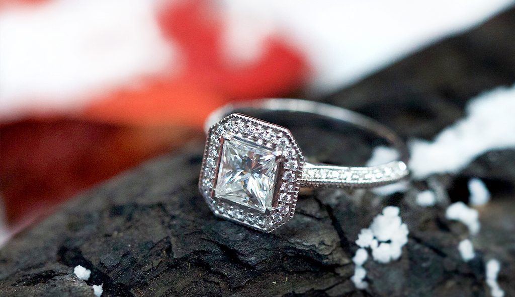 canadamark diamonds octagon halo engagement ring