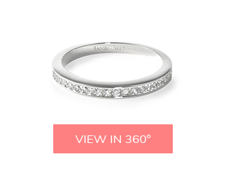engagement ring and wedding band: channel-set matching wedding rings