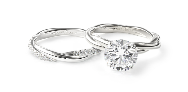 engagement ring and wedding band: classic with a twist matching wedding rings