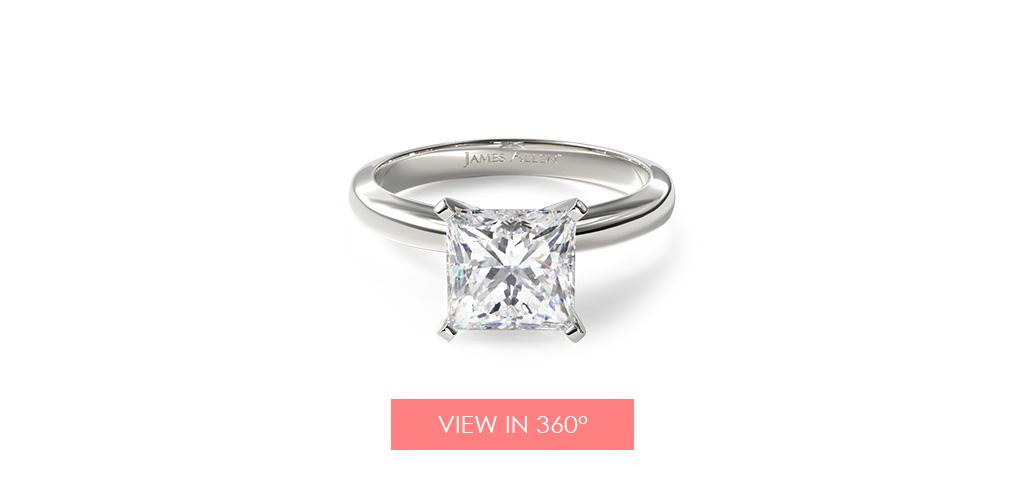 Comfort fit solitaire princess cut engagement ring