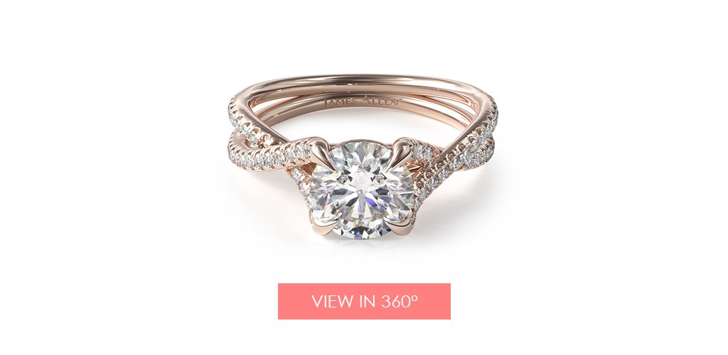 14K Rose Gold Twin Pavé Cross Over Diamond Engagement Ring
