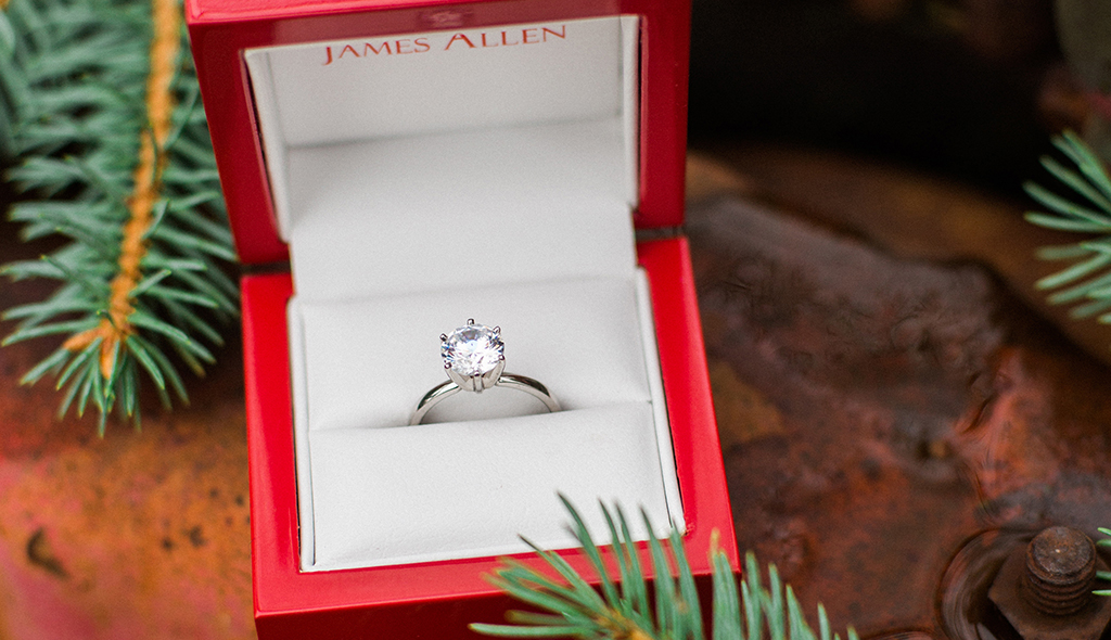 crown diamond solitaire engagement ring