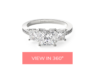 engagement ring and wedding band: three-stone princess diamond engagement ring