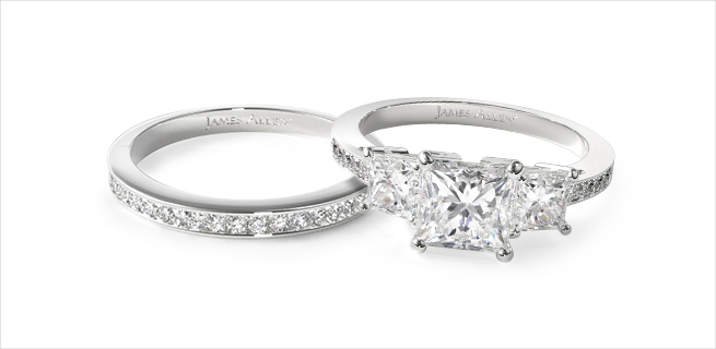 engagement ring and wedding band: diamond side stone matching wedding rings