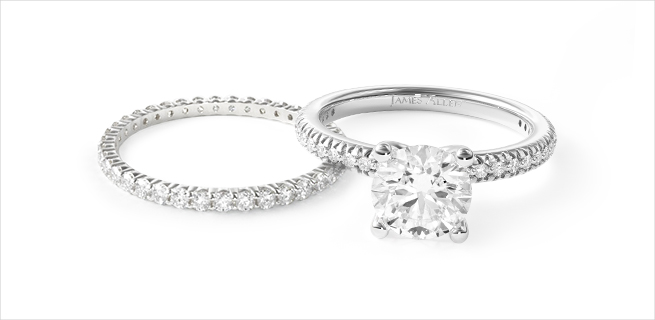 engagement ring and wedding band: bling all around matching wedding rings