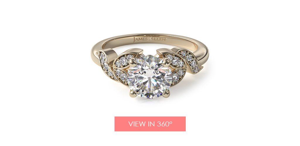 14K Yellow Gold Pavé Vine Diamond Engagement Ring
