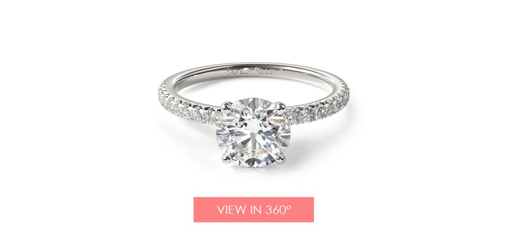 14K White Gold French Cut Pave Wire Basket Engagement Ring