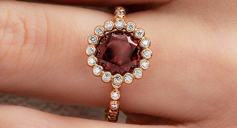 garnet january birthstone beaded halo ring