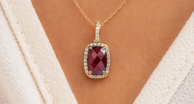 garnet january birthstone cushion halo necklace