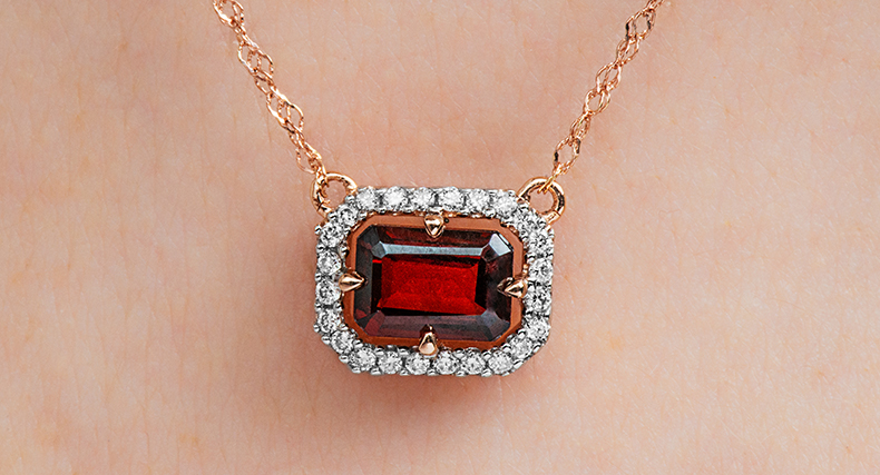garnet january birthstone floating halo necklace