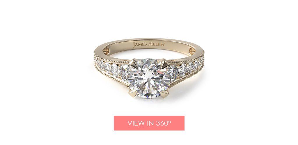 18K Yellow Gold Reverse Taper Milgrain Diamond Engagement Ring