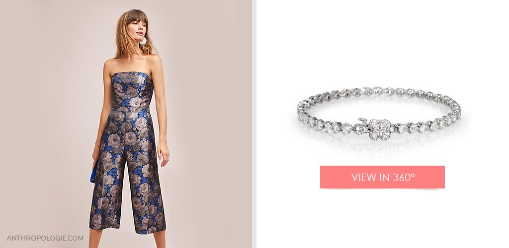 Floral jumpsuit on left and White Gold Diamond Flower Clasp Bracelet