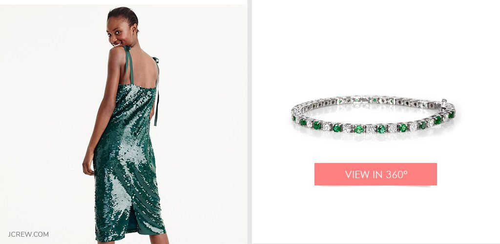 New Year's Eve look: Green dress paired with emerald and diamond bracelet