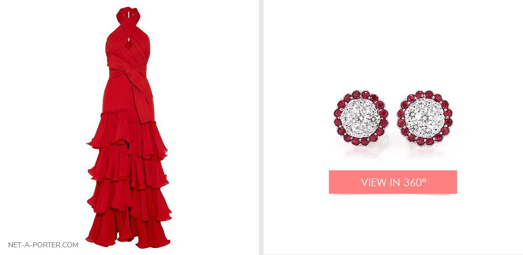 Red ruby and diamond earrings for your New Year's Eve jewelry look