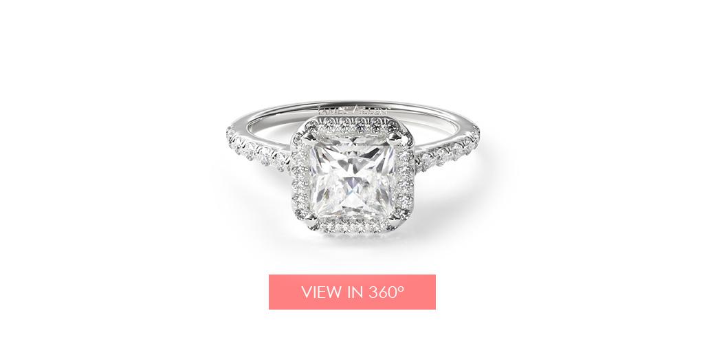 Pavé halo princess cut engagement ring