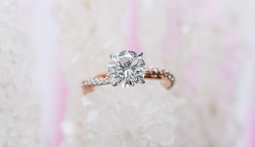 rose gold rope twist pave engagement ring
