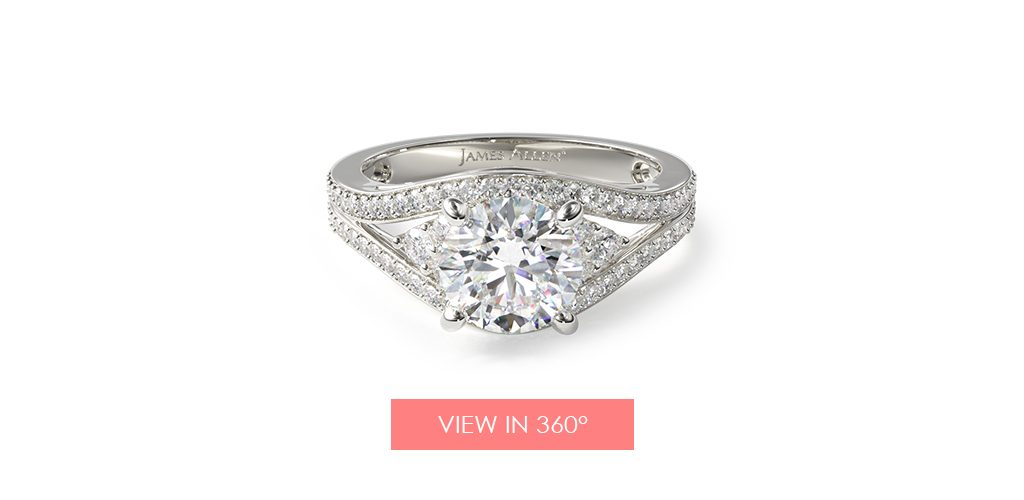 14K White Gold Double Pave Diamond Engagement Ring