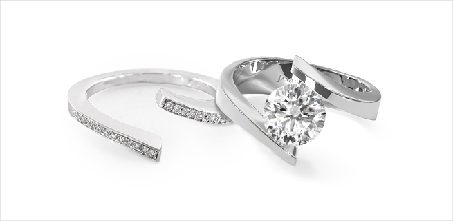 engagement ring and wedding band: super modern matching wedding rings