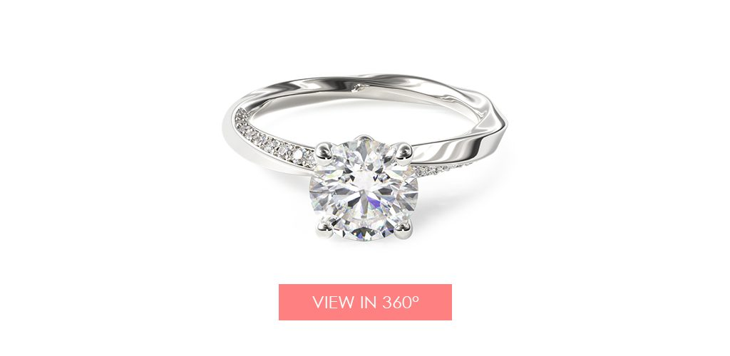 14K White Gold Twisted Pavé Engagement Ring