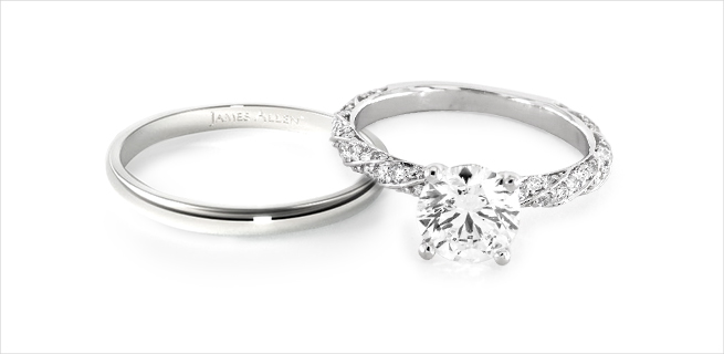 engagement ring and wedding band: understated with shine matching wedding rings