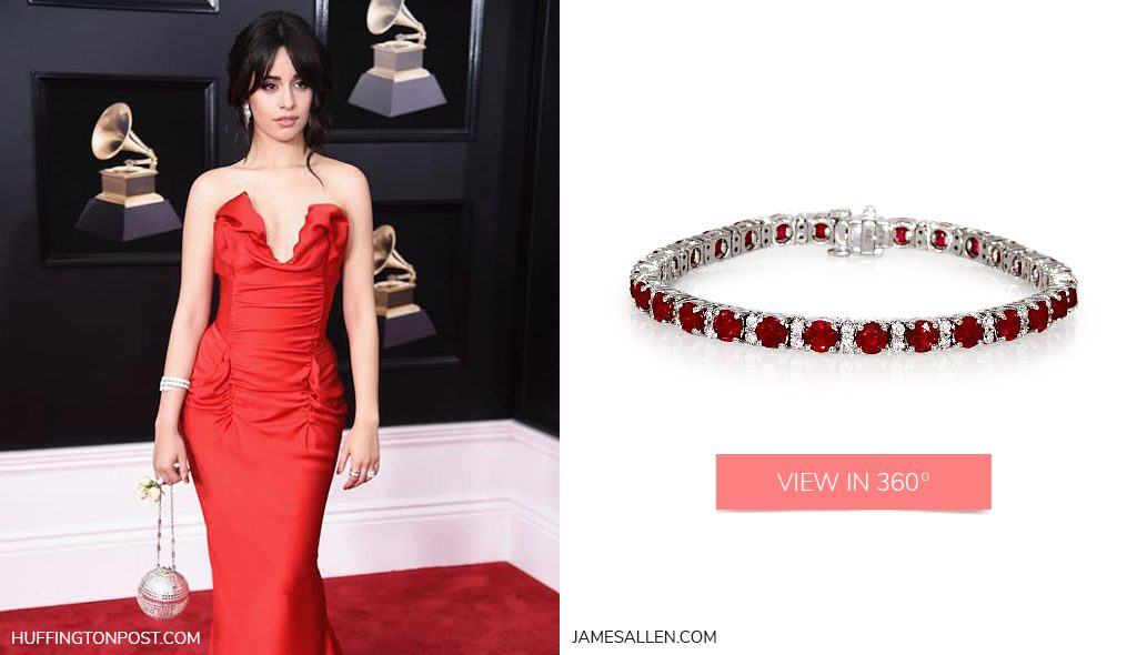 Camila Cabello White Gold Ruby and Diamond Bracelet 2018 Grammys Looks