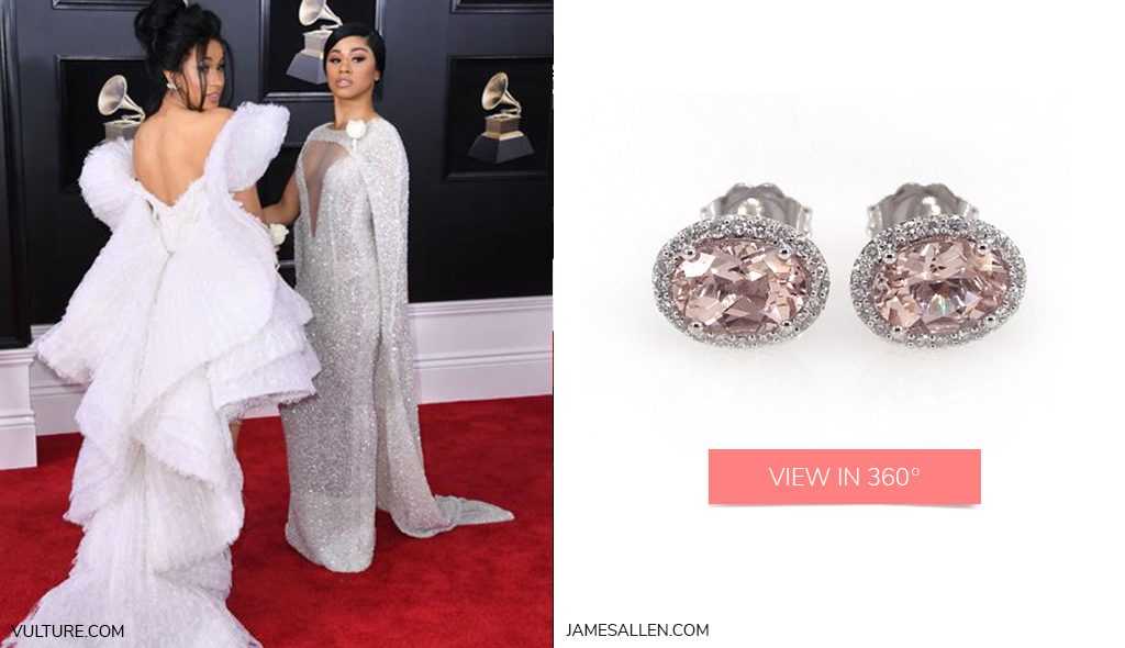 Cardi B and Hennessy Carolina Morganite and Diamond Halo Earrings 2018 Grammys Looks