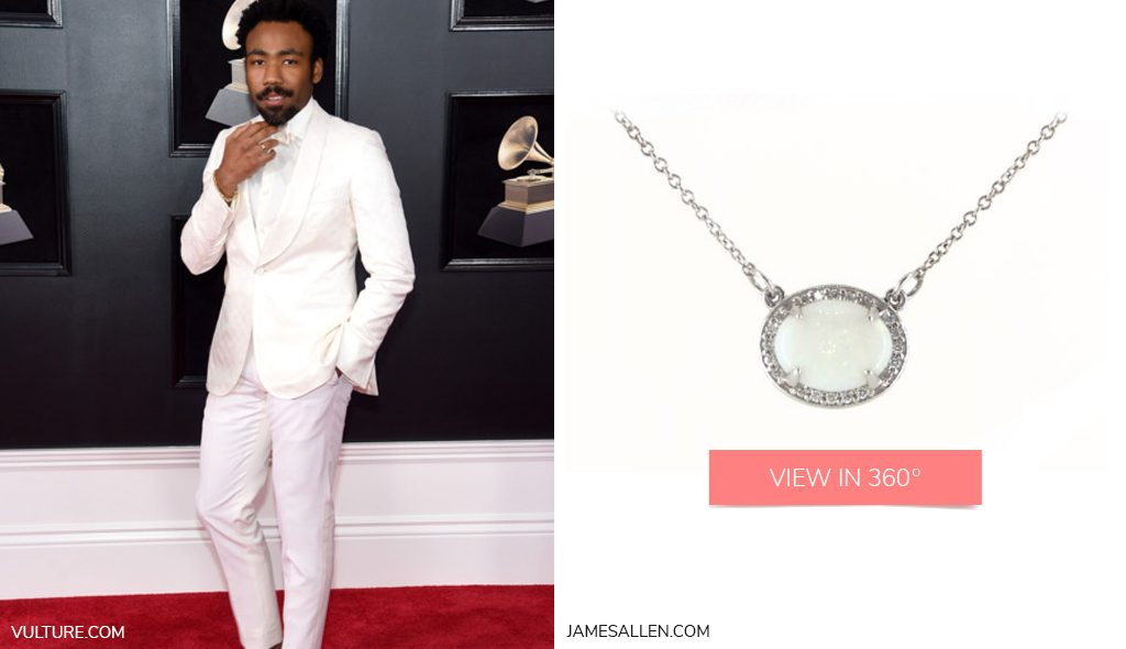 Donald Glover Childish Gambino White Gold Opal and Diamond Halo Necklace 2018 Grammys Looks