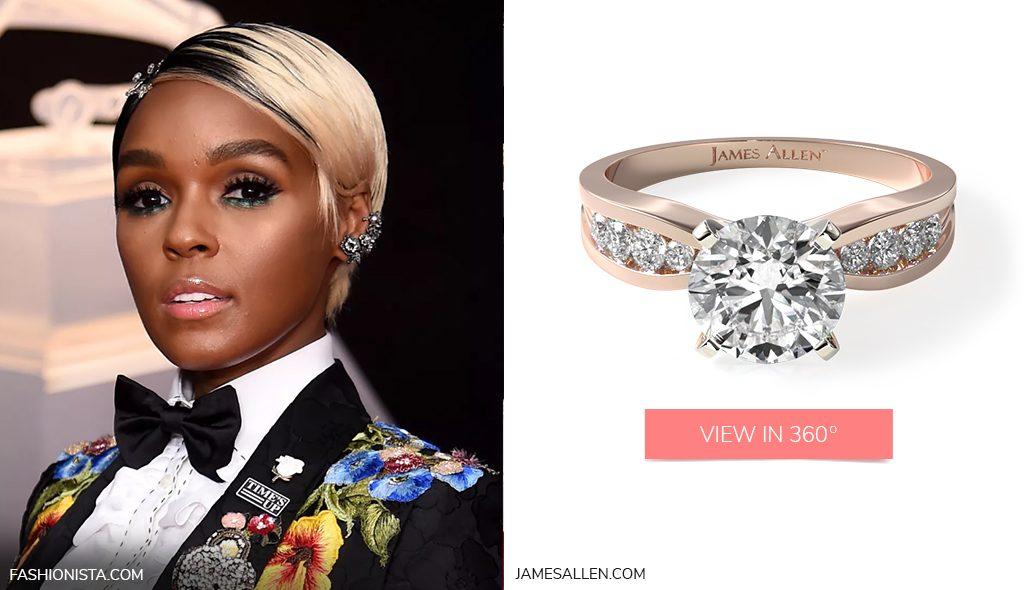 Janelle Monae's 14K Rose Gold Bow-Tie Channel Set Diamond Engagement Ring