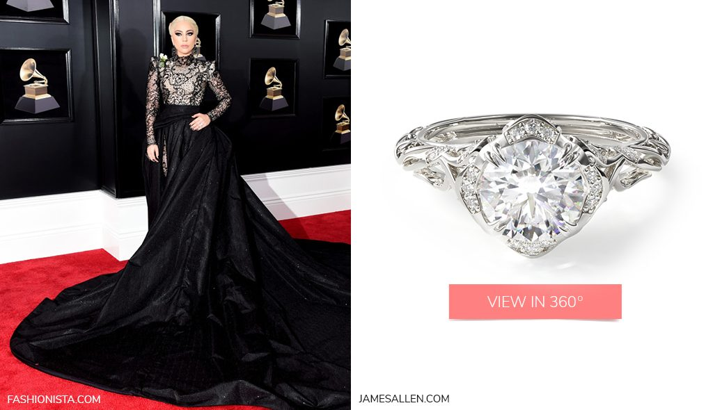Lady Gaga Vintage Filigree Engagement Ring with Round Cut Diamond 2018 Grammys Looks
