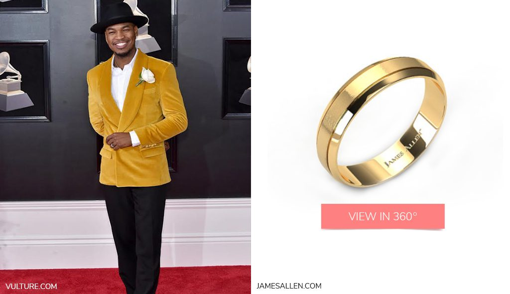 Ne-Yo Yellow Gold Etched Comfort Fit Wedding Band 2018 grammys looks