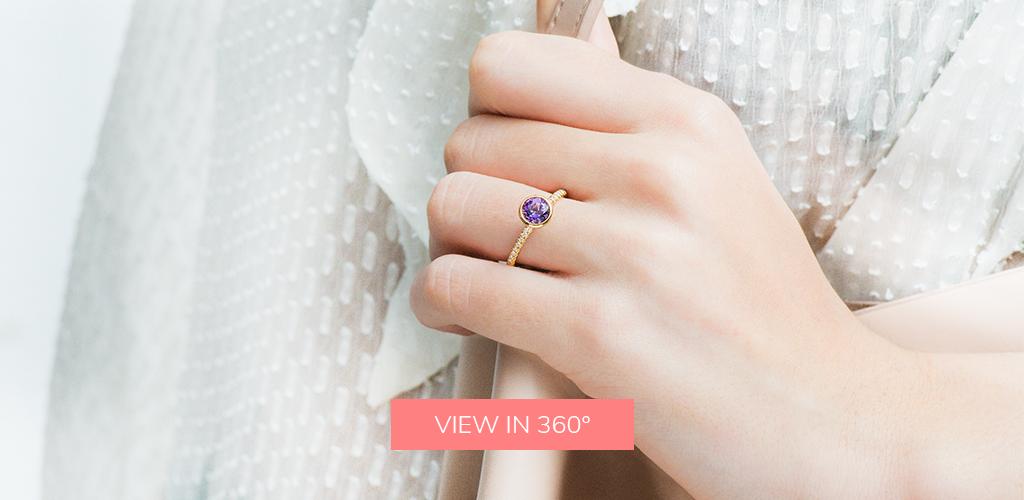 february's birthstone bezel set round cut amethyst pave diamond ring