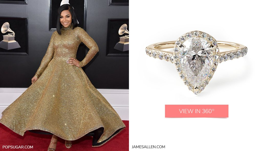 ashanti yellow gold pave halo pear engagement ring 2018 grammys looks