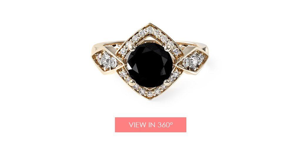 black diamond art deco engagement ring super bowl proposal