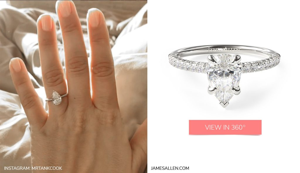 Celebrity Engagement Rings Kaley Cuoco White Gold Petite Pavé