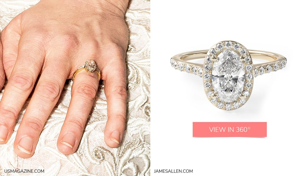 Celebrity Engagement Rings Kirsten Dunst Yellow Gold Pavé Halo