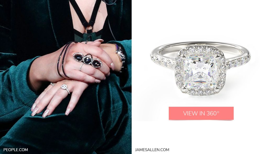 Celebrity Engagement Rings White Gold Pavé Halo and Shank Meghan Trainor