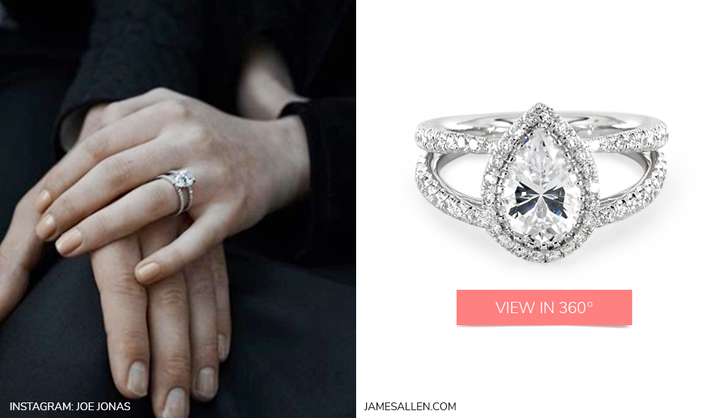 celebrity engagement rings double shank pear halo