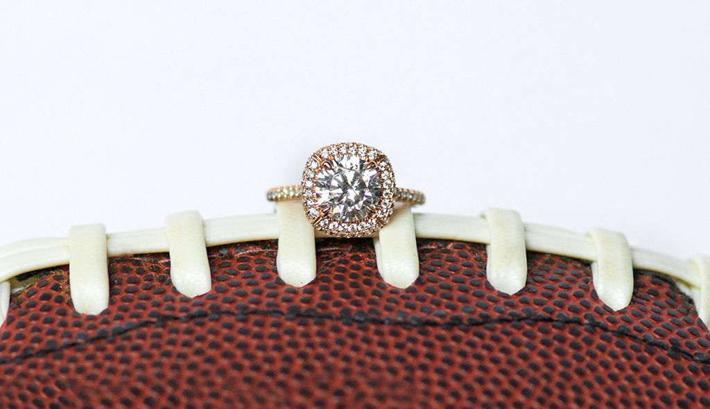 cushion outline pave engagement ring super bowl proposal