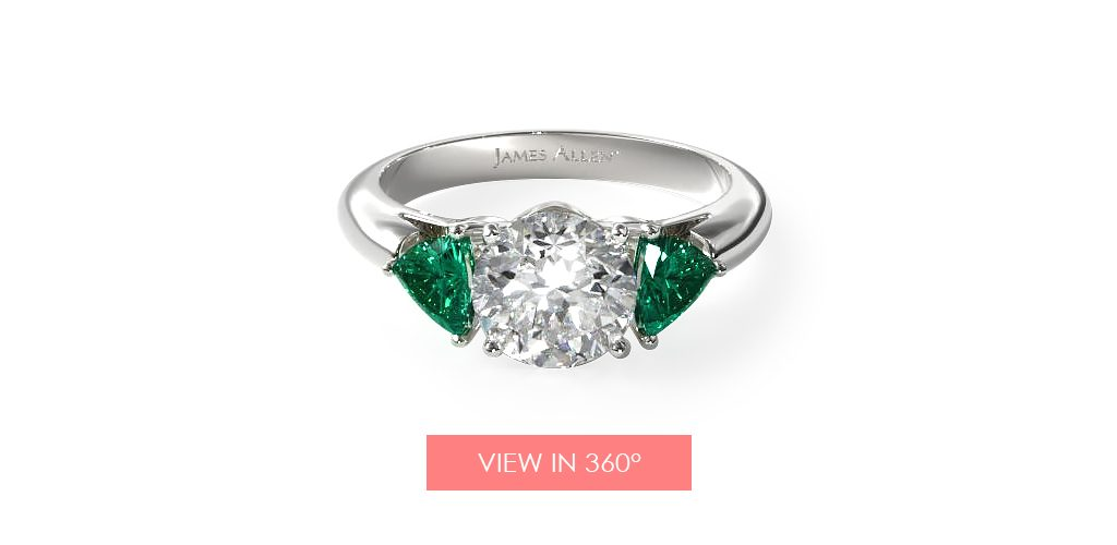 emerald side stone engagement ring super bowl proposal
