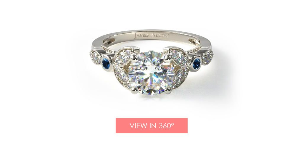 floral sapphire side stone engagement ring