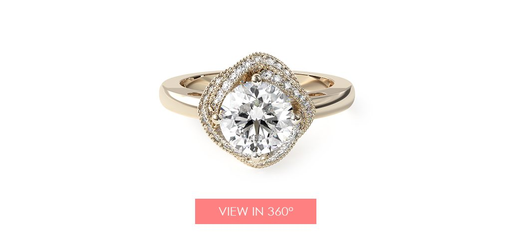 infinity halo vintage engagement ring