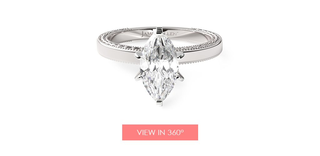 marquise diamond etched engagement ring super bowl proposal