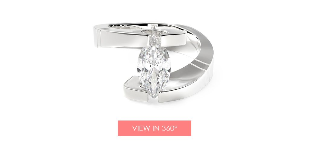 marquise diamond tension engagement ring super bowl proposal