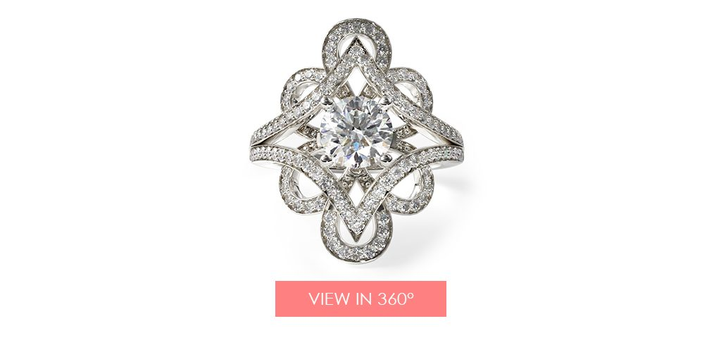 open floral vintage engagement ring