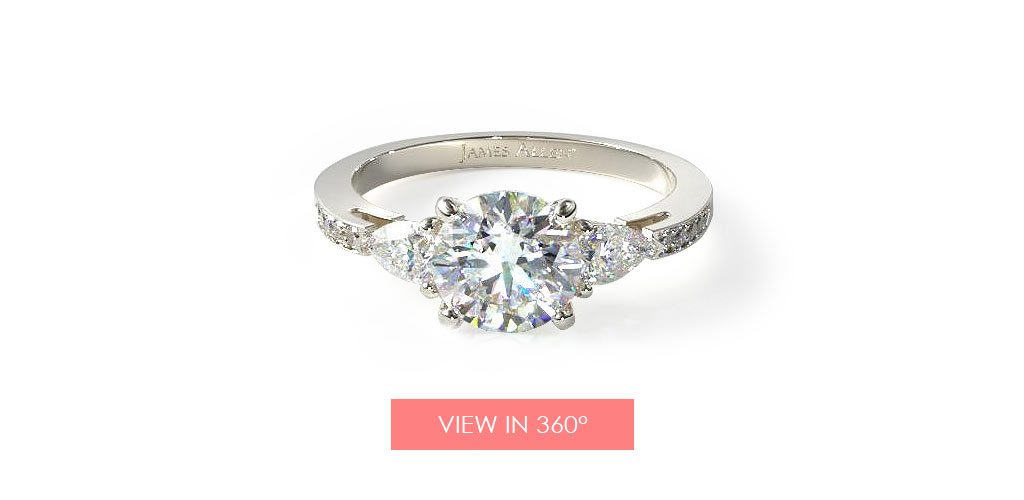 pear pave three stone engagement ring