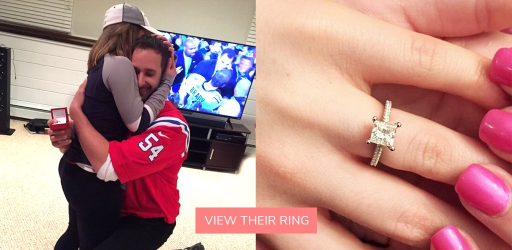 petite pave cathedral engagement ring super bowl proposal