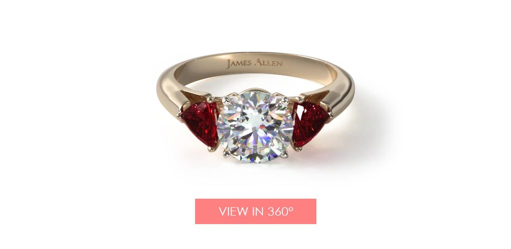 ruby three stone engagement ring
